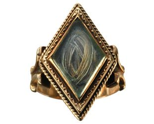 """Mourning ring, be my love. The hair inside is referred to as """"a collar."""" Sometimes I wonder if jewelry like this is haunted."""