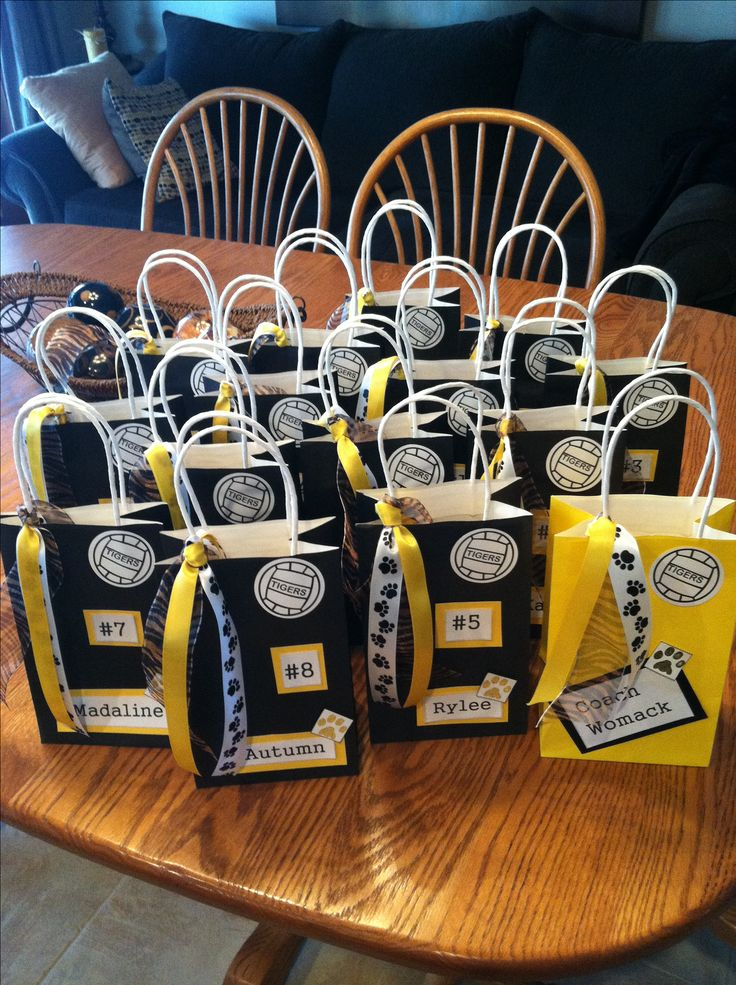 Volleyball Treat Bags for Rylee's team. Craft day at my grandma's house turned out great.