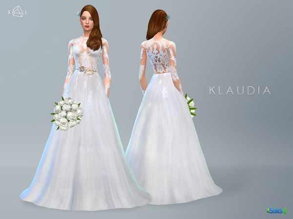 Lace Wedding Dress KLAUDIA by starlord at TSR via Sims 4 Updates