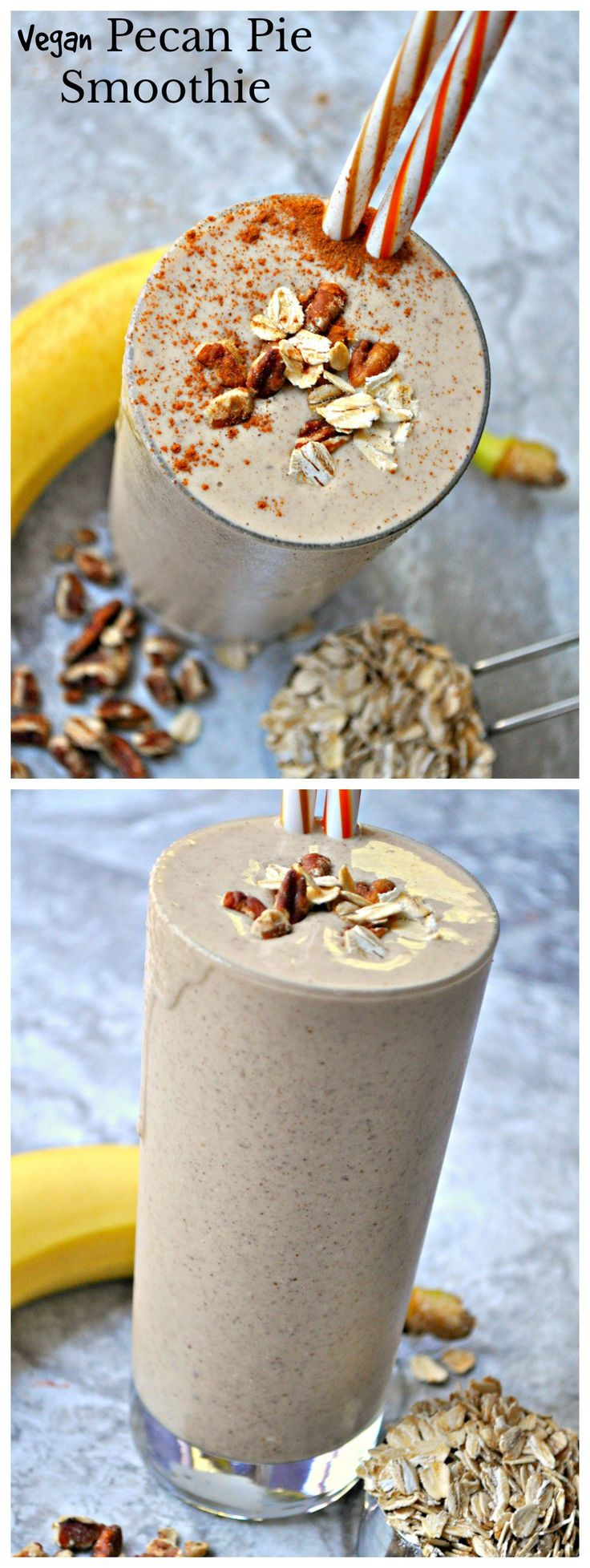 Pecans, oats, banana, cinnamon, and almond milk make the perfect quick breakfast that tastes just like pecan pie! This vegan pecan pie smoothie is amazing.