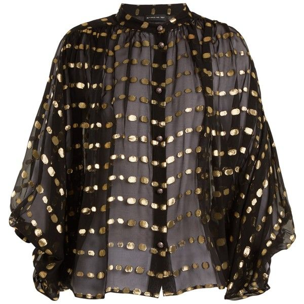Polka-dot batwing-sleeved chiffon blouse Etro MATCHESFASHION.COM ($755) ❤ liked on Polyvore featuring tops, blouses, polka dot chiffon top, bat sleeve tops, batwing sleeve blouse, bat sleeve blouse and etro top