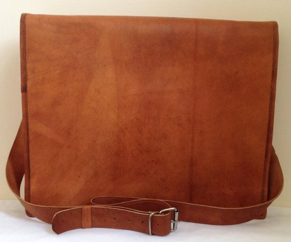 New Genuine Leather Brown Messenger Bag by JuniperAccessories