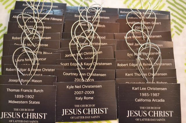 Missionary name tag ornaments for grandparents.