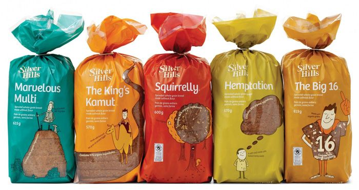 Award winning, bread packaging design for Canadian bakery Silver Hills by DDB.