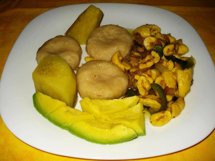 Ackee and Saltfish with some flour dumplings and yellow yams.... Oh how I miss my home Jamaica