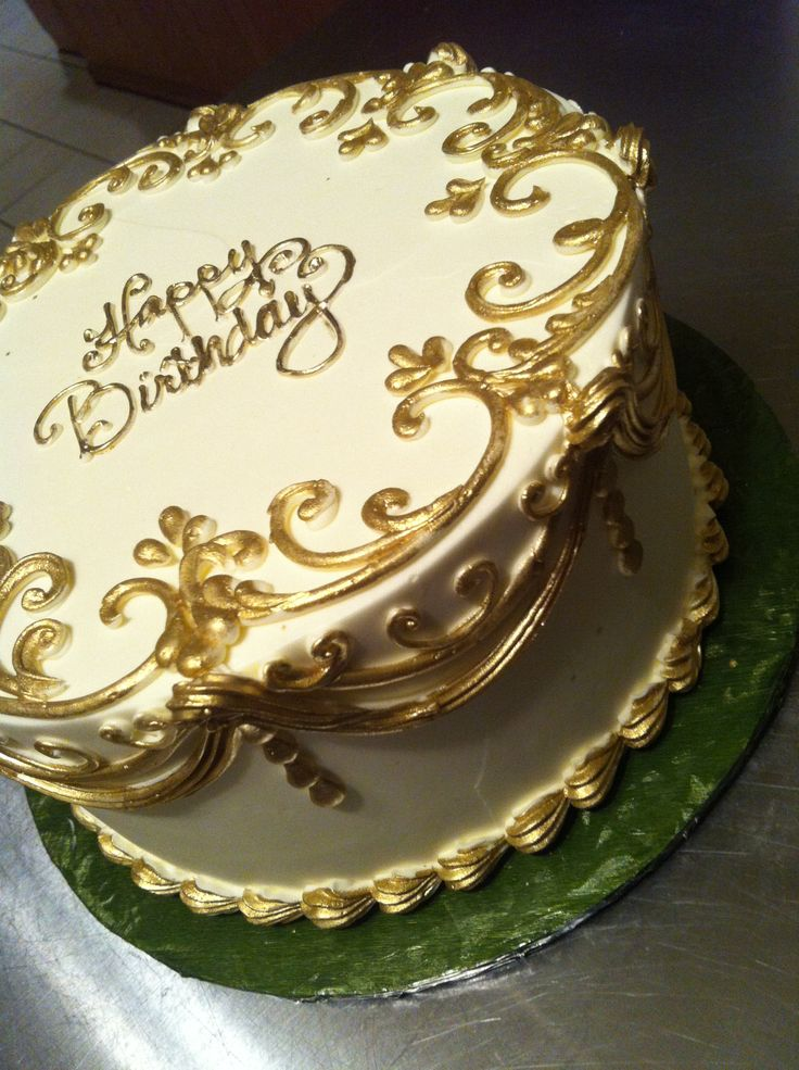 "Golden Birthday Cake -maybe a square cake with same edging and a ""gold bar/s"" on the corner"