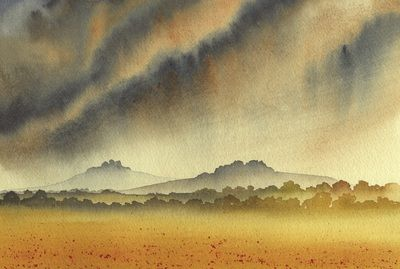 Places of Pilgramage: Wittenham Clumps (watercolour) by Ian Scott Massie