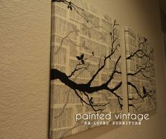 Do-It-Yourself Wall Art for under $8.00 for any decor! Taupe and Charcoal hand painted branches on a newsprint style decoupaged canvas background.