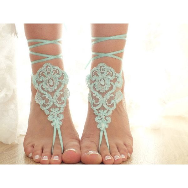6 Pairs Bridesmaid Gift Beach Shoes Bridal Sandals Mint Lace Sandals... ($120) ❤ liked on Polyvore featuring shoes, sandals, barefoot sandals, black, women's shoes, lace-up sandals, mint sandals, mint green shoes, black lace shoes and black shoes