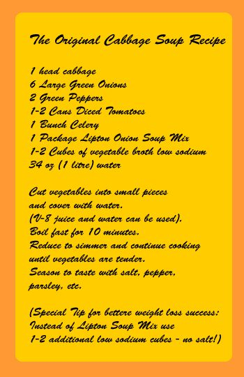 cabbage soup diet recipe - healthy recipes for the cabbage soup diet