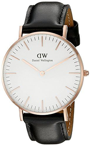 Daniel Wellington Women's 0508DW Sheffield Analog Quartz Black Leather Watch  Rose gold-tone watch with minimalist white dial featuring slender stick hour markers, baton-shape hands, and contrast logo under 12 o'clock  36 mm rose gold-tone case with mineral dial window  Quartz movement with analog display  Leather calfskin band with tonal stitching and buckle closure  Water resistant to 30 m (99 ft): In general, withstands splashes or brief immersion in water, but not suitable for swim...