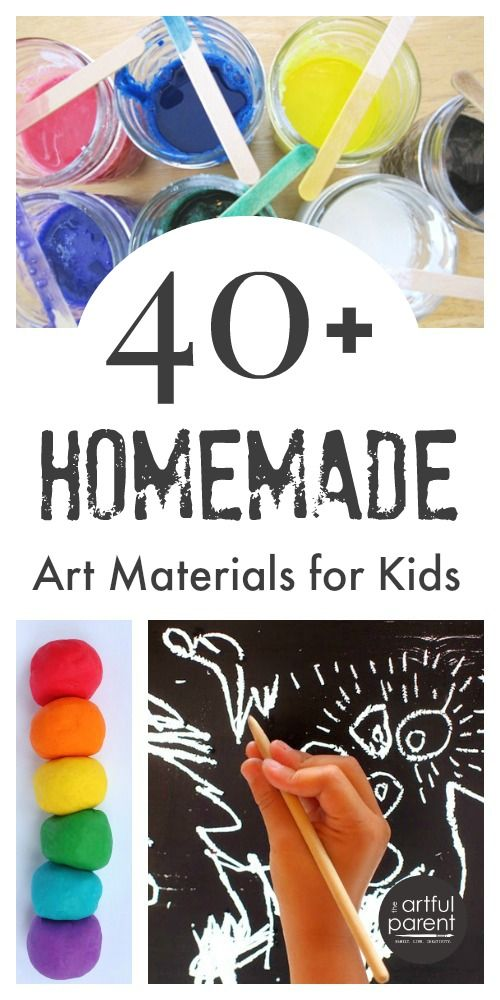 40+ homemade art materials for kids art, including paint recipes, playdough, & drawing materials. Make your own art supplies for fun, economy, and more!
