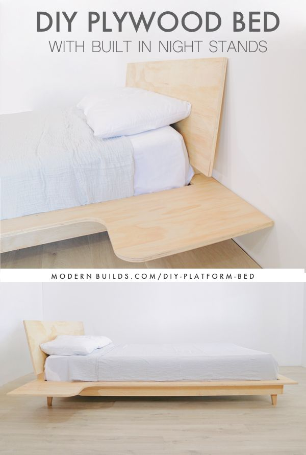 How To Build A Modern Diy Platform Bed W Built In Night Stands Why Is Plywood Furniture So Great Diy Platform Bed Bedroom Furniture Makeover Diy Bed