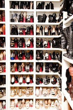 Snapshots of ridiculous shoe closets. (This one belongs to Khloe Kardashian.) (...Is that three of the exact same black heel we see at the top right?)