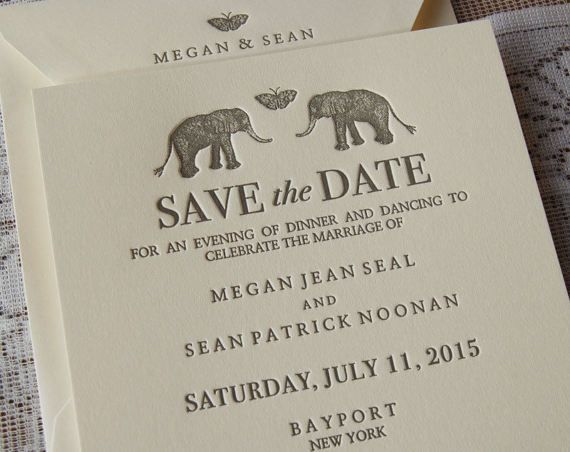 Letterpress Save the Date Sample, Wedding Save the Date, Whimsical Save the Date, Elephants Save the Date, Custom Save the Date card