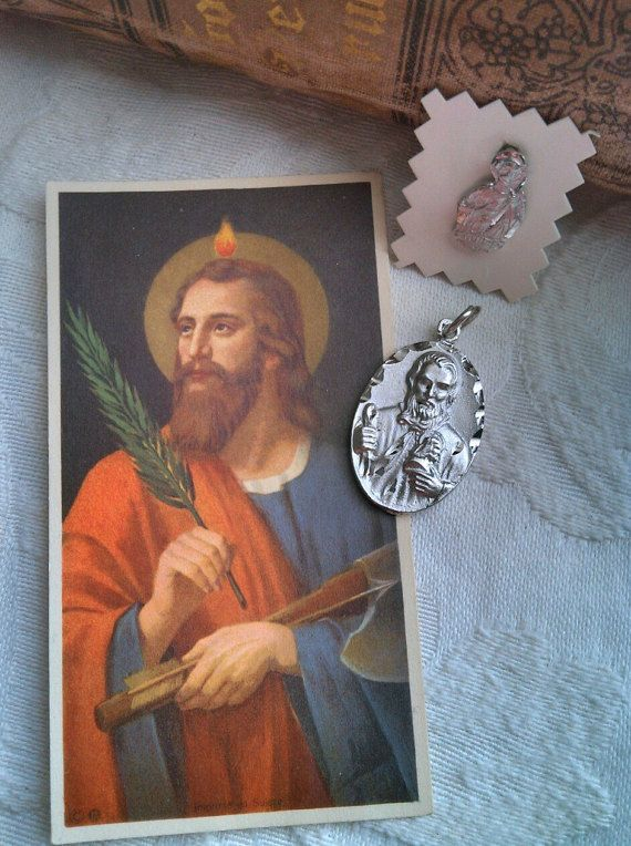 St Jude Pendant and Pin Swiss Prayer Card  Apostle by VinLizzy