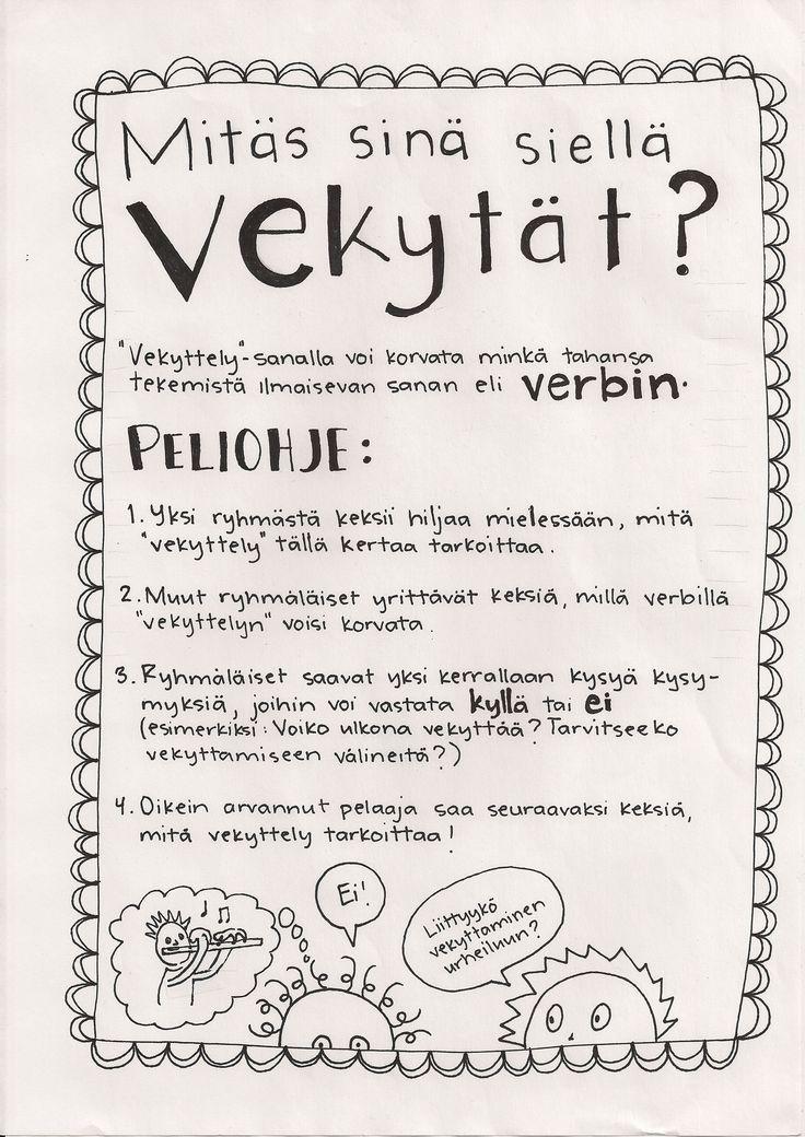 Vekyttely-peli verbien harjoitteluun.