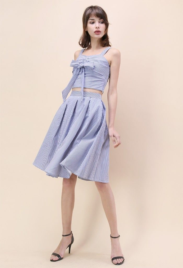 Sweet Breeze Top and Skirt Set in Blue Stripe - New Arrivals - Retro, Indie and Unique Fashion