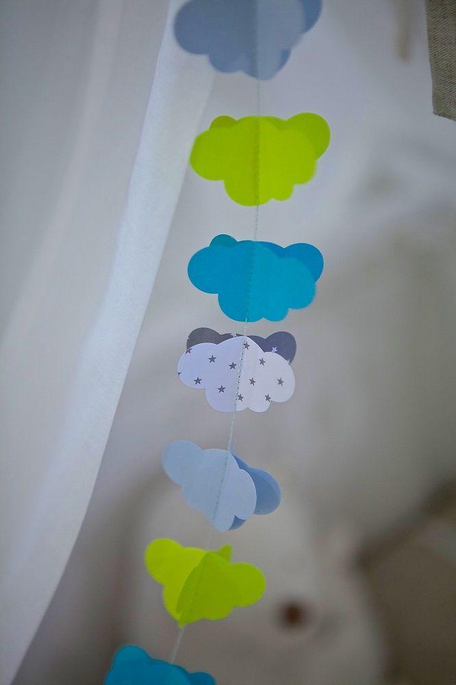 Guirlanda decorativa hecha a mano por la diseñadora molamola, la guirnalda nubi decorará perfectamente  el interior de vuestra casa o la habitación de vuestro peque.