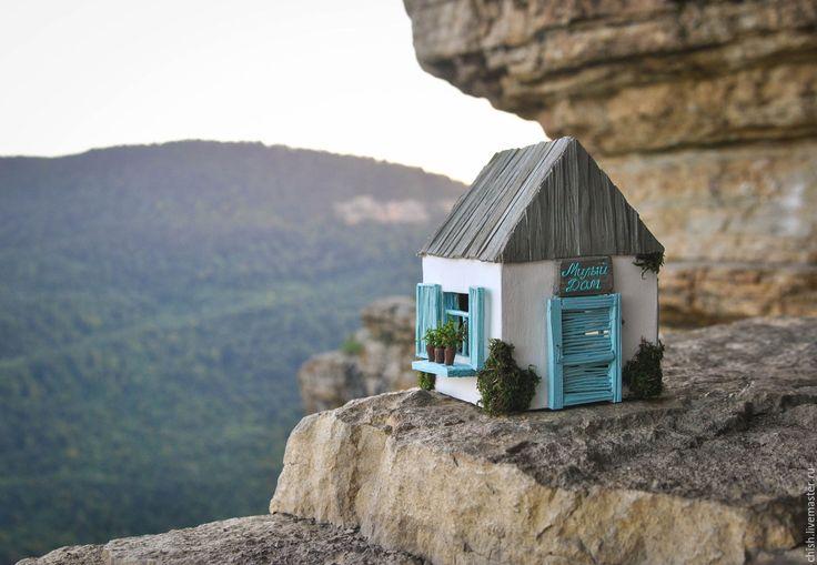 Купить Домик-ночник Небесно-голубой - голубой, прованский стиль, прованс, шебби-шик, коттедж