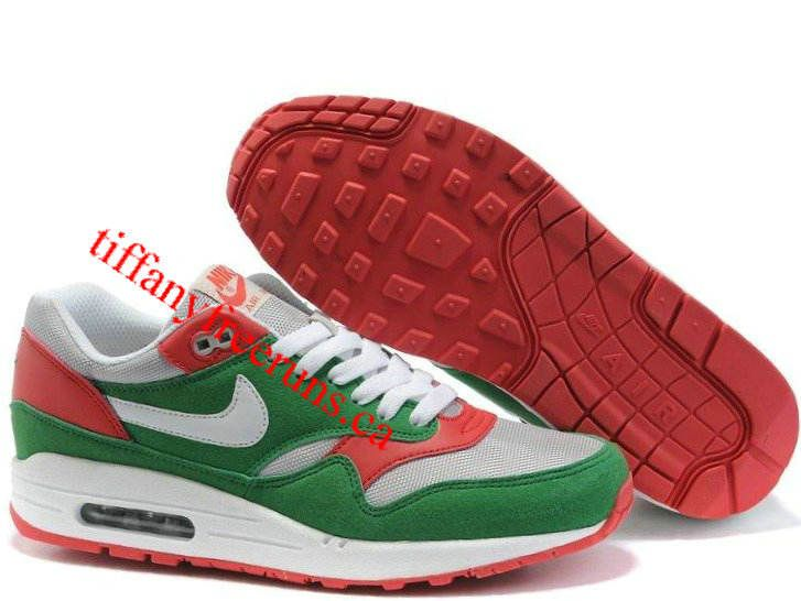 Mens Nike Air Max 1 Neutral Grey Washed Green Dark Red Shoes