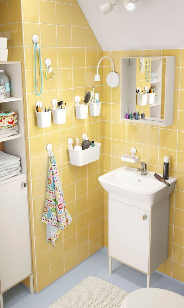 Petite salle de bains accrocher sur les murs for Cote maison salle de bain