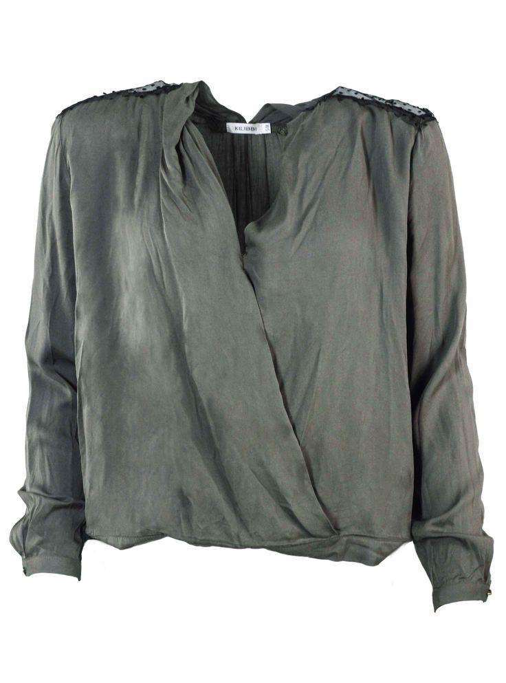 Cette chemise kaki est très féminine avec sa dentelle sur les épaules et son décolleté cache-coeur !  http://tinyurl.com/k6ydrfk  #chemise #dentelle #féminine #kaki