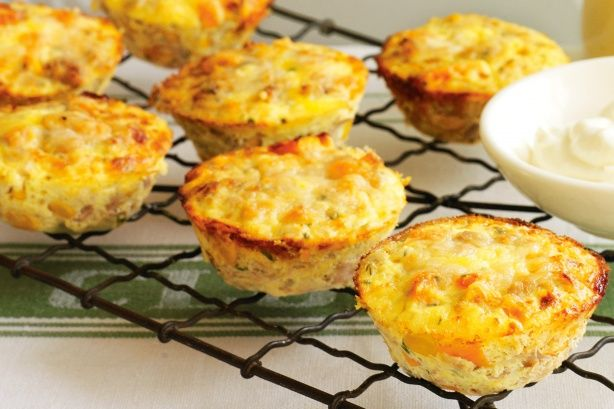 Mini tuna, corn & sweet potato frittatas:  http://www.taste.com.au/recipes/20625/mini+tuna+corn+sweet+potato+frittatas