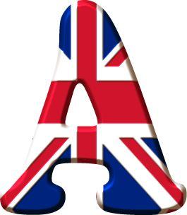 Alfabeto Decorativo: Alfabeto - Bandeira do Reino Unido - PNG