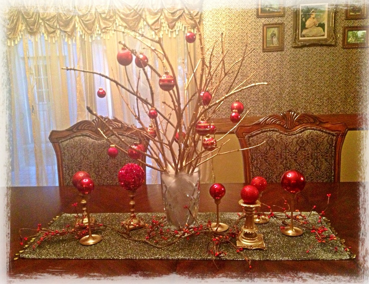 My christmas table centerpiece gold spray paint and
