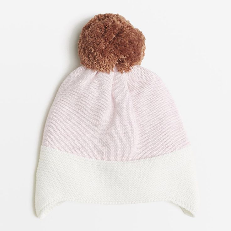 Willows Children's Boutique | Powder Pink/Toffee Knitted Hat | By Wilson & Frenchy | Baby Girls Clothing | Online Baby Boutique