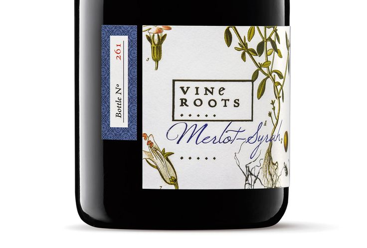 Vine Roots: The Memory of the Terroir | PaperSpecs.com The foreground of each digitally printed Vine Roots label includes hand-drawn illustrations of the roots of herbal aromatic species.