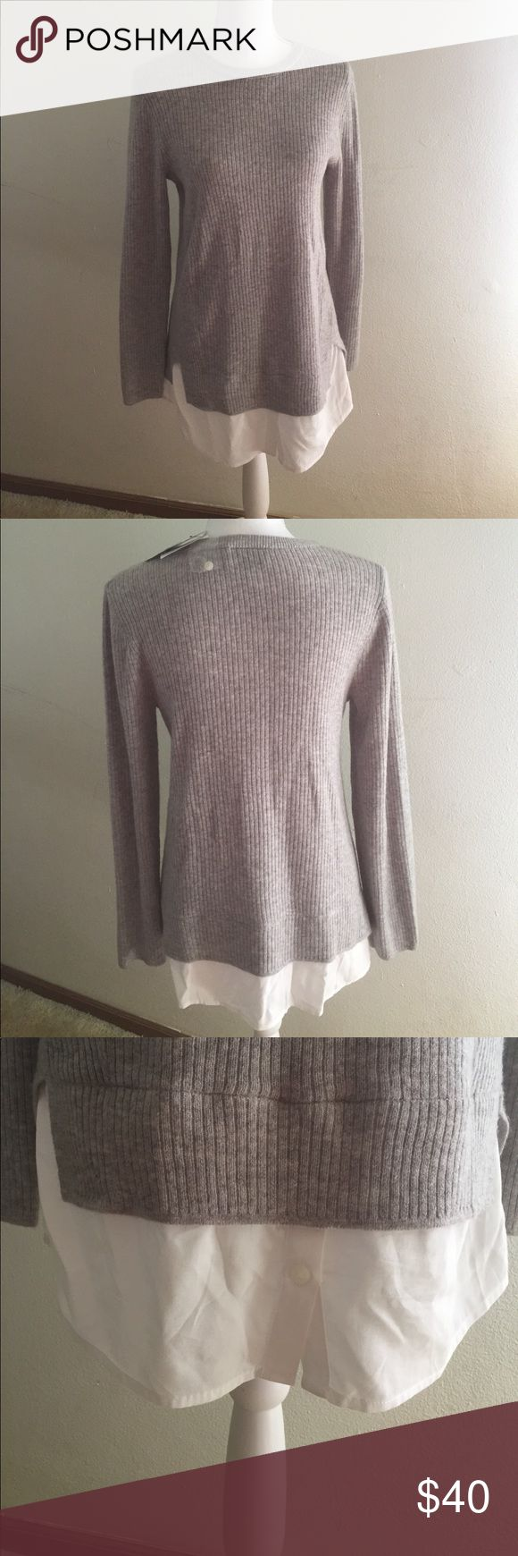 "Topshop maternity jumper marked gray Sz 6 Very cute Topshop maternity jumper with faux shirt.         Very stretchy and comfortable!!   18"" armpit to armpit. 30"" shoulder to bottom hem Topshop MATERNITY Sweaters Crew & Scoop Necks"