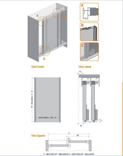 Sistema de rieles para puertas corredizas buscar con for Sistema para puertas corredizas