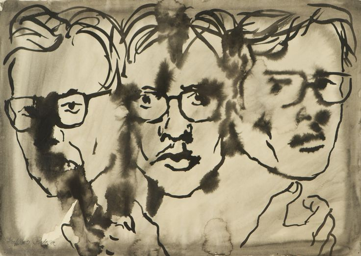 Kalervo Palsa: Omakuva, 1973, sekatekniikka, 41x57 cm - Hagelstam K138