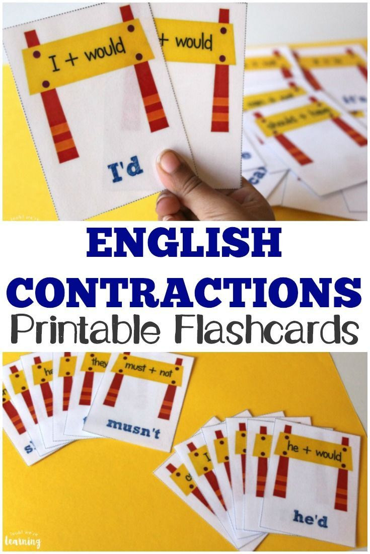 68 best free printable flashcards images on pinterest printable printable english contractions flashcards for kids fandeluxe Choice Image