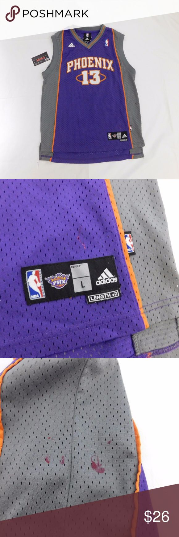 Steve Nash Suns Jersey YOUTH L USED Adidas NBA Phoenix Suns Steve Nash # 13 Throwback Purple Basketball Jersey | YOUTH Size Large (14-16) | Good condition, stains shown in pictures  For Discounts Follow Me on Instagram @407vintage !  KEYWORDS/TAGS: ultra boost , Tommy Hilfiger , Polo Sport , Nautica , NMD , supreme , kith , bred , adidas , banned , french blue , stussy , Maestro , vintage , kaws , solefly , trophy room , box logo , gamma blue , retro jordan , steal , foams , foamposite…