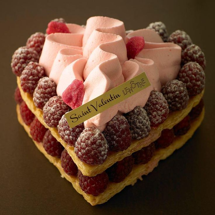 Valentine's Day raspberry millefeuille from Lenotre.,,,,OUAHHH RAFINE Y DELICIEUX J ADORE,,,,,**+