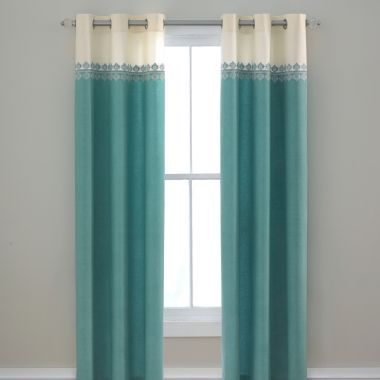 Turquoise white cream ivory off white curtains drapes teen - Jcpenney bathroom window curtains ...