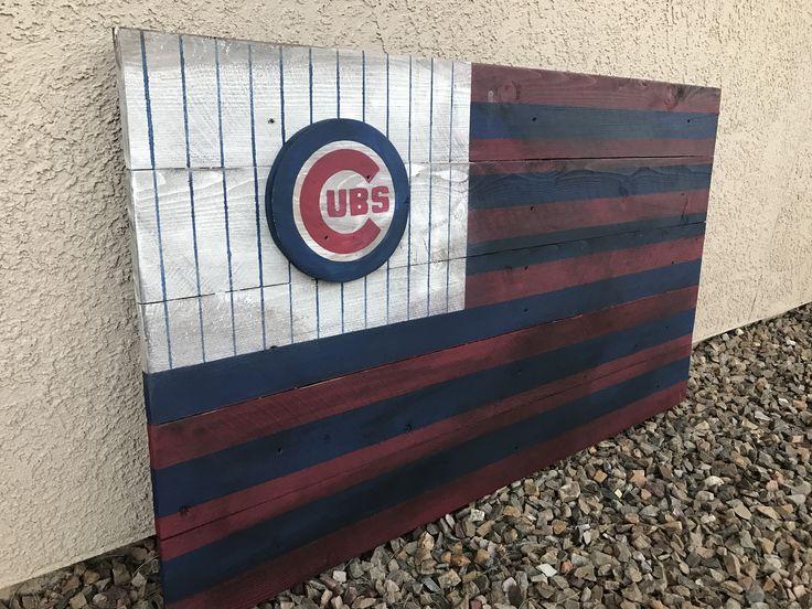Chicago Cubs wood flag