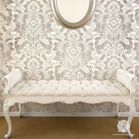 Get the designer look of Italian damask wallpaper without damaging your walls! Paint the blossoming flowers of our Lisabetta Damask Wall Stencil onto a large accent wall or floor for a classic Europea
