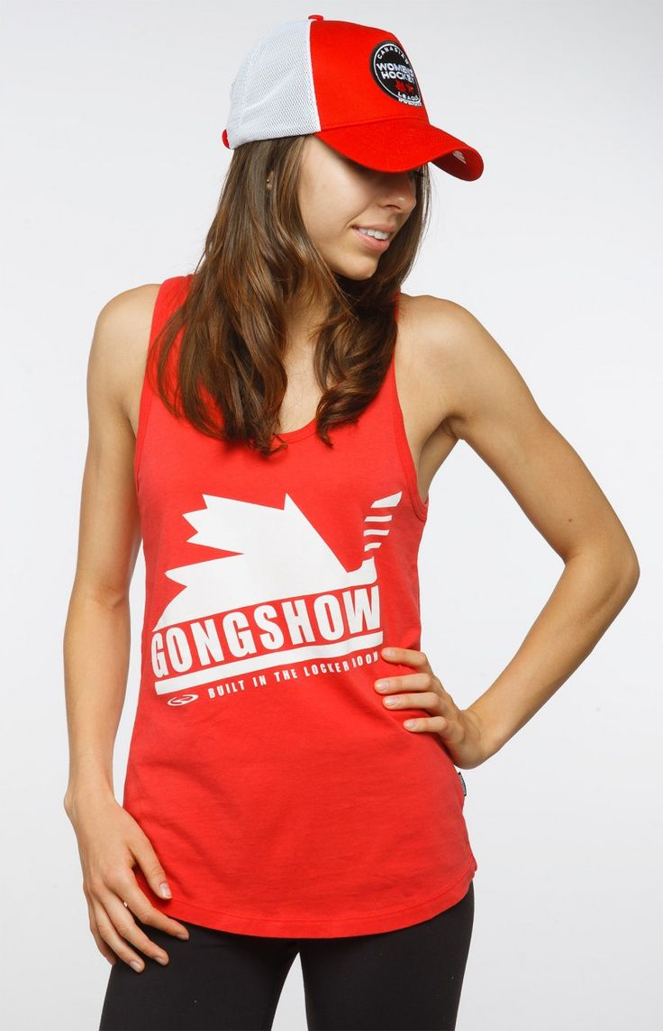 SET THE TONE $34.99 Everyone loves a Canadian girl, smart, sassy, well-mannered and classy. She can skate with the best and knows how to drop the gloves when it's time to go toe-2-toe. Show your Canadian pride and look like a gem this July 1st with this tank. #GONGSHOW #Hockey