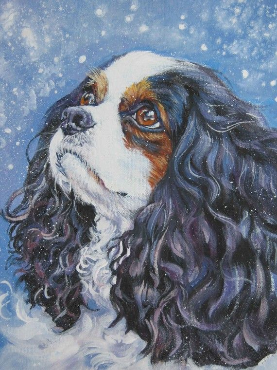 Cavalier King Charles Spaniel art print CANVAS by TheDogLover, $39.99