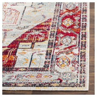 "6'7""X9'2"" Loomed Area Rug Light Blue/Red Medallion - Safavieh"