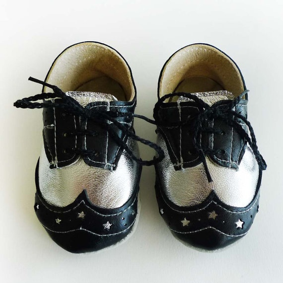 HOW CUTE!!! Baby Boy Shoes Black and Silver Leather Crib Dress shoes by ajalor