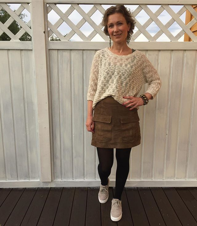 WEBSTA @ karifinne - #todays #outfit #outfitoftheday #ootd #picoftheday #lookoftheday #streetstyle #fashionista #style #currentlywearing #whatiwore #earthcolors #millitary #green #suede #skirt #hm #beige #sweather #lindex #earrings #bracelet #indiska #sneakers #hm #dagens #antrekk #kk #minmote #stil #mote
