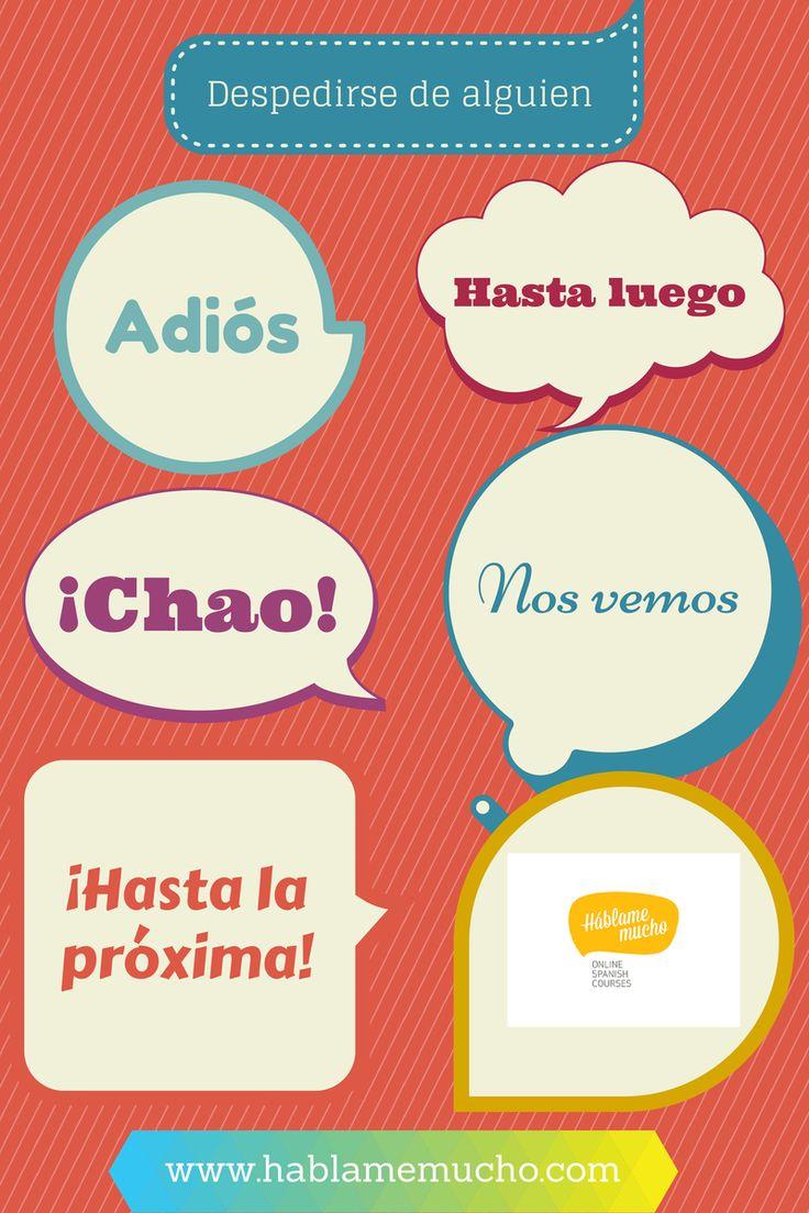 Despedirse. #Spanish phrases and #Spanish words for saying goodbye. #Spanish vocabulary #despedidas