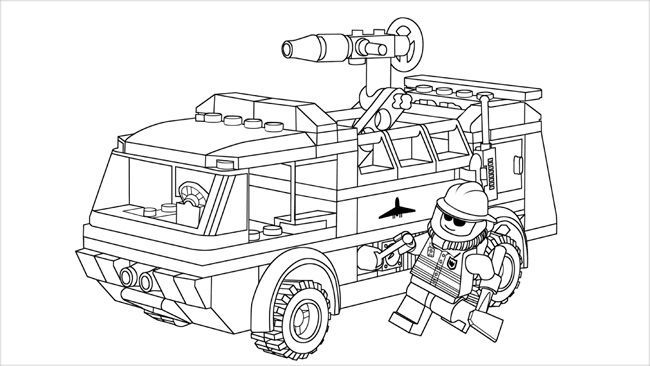 Lego City Fire Truck Coloring Page In 2020 Lego Coloring Pages Lego Coloring Lego City Fire