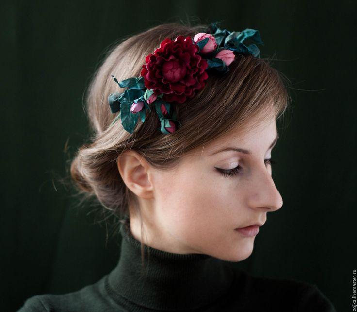 Купить Украшение венок на голову с сухоцветами из ткани - венок на голову, венок с цветами, украшение на голову