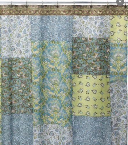 Chenab One 100 Cotton Paisley Floral Patchwork Blue Shower Curtain Blue Shower Curtains